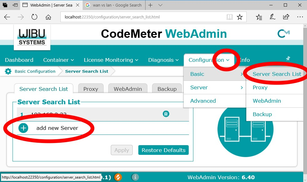 Server Search List, CodeMeter WebAdmin